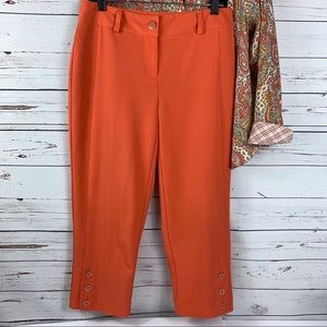 CATO Pants Cropped Orange Buttons Career Casual